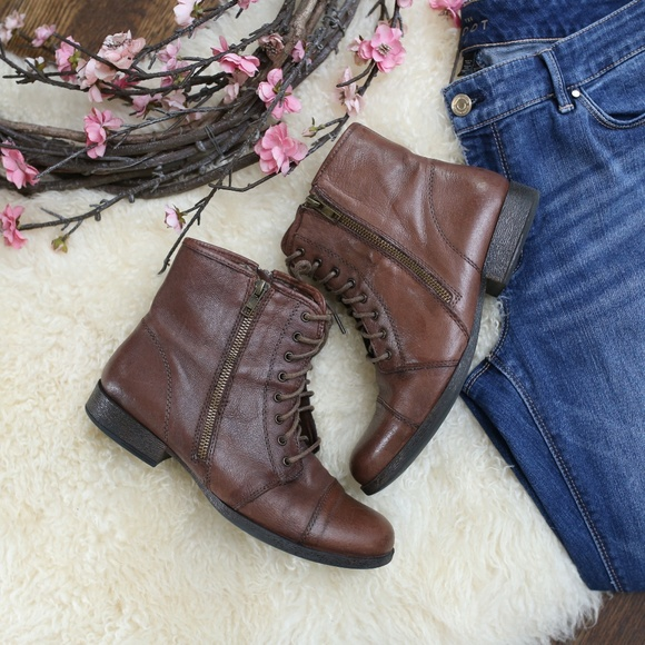 a264465af17 Steve Madden Tammee Brown Leather Combat Boot 8.5